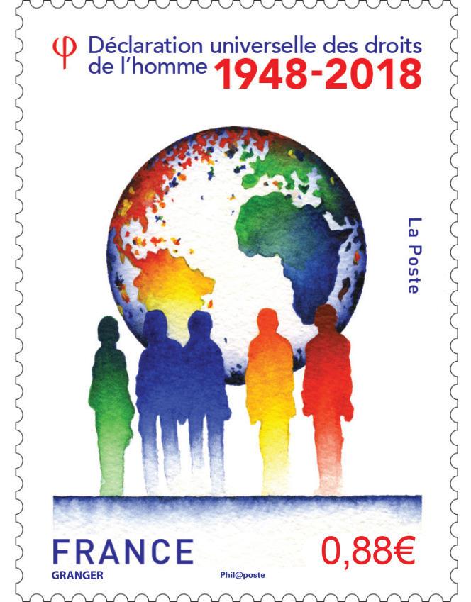 Le timbre sur la Déclaration universelle des droits de l'homme créé par Michel Granger et mis en page par Vicente Granger, en vente générale le 11 décembre.