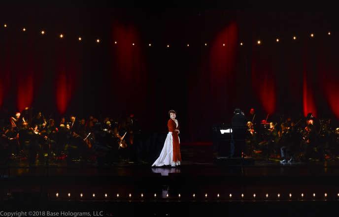 L'hologramme de la cantatrice Maria Callas, au Lincoln Center, le 14 janvier, à New York (Etats-Unis).