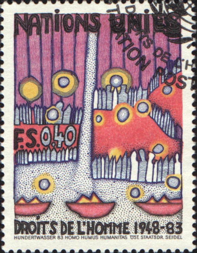 La poste des Nations unies a sollicité à plusieurs reprises Hundertwasser pour ses timbres.