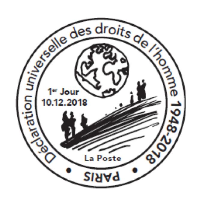 Le timbre à date grand format illustré« premier jour» dessiné par Michel Granger et mis en page par Vicente Granger.