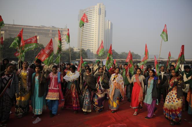 De nombreuses femmes étaient présentes dans le cortège des paysans du 30 novembre à New Delhi.