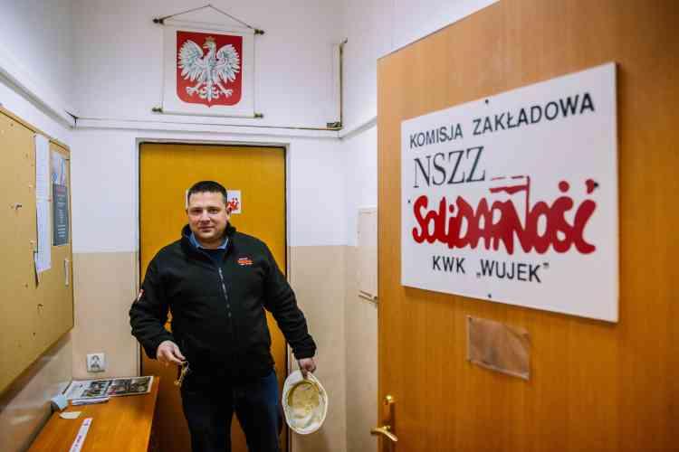 Darek Gieron, le leader du syndicat Solidarnosc de la mine de Wujek. Cette fédération, très puissante dans le secteur de l'énergie, se bat pour que l'Etat continue à subventionner le charbon.