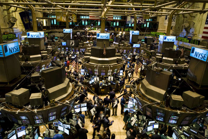 La Bourse de New York, après la mise en faillite de la banque Lehman Brothers, le 15septembre 2008.