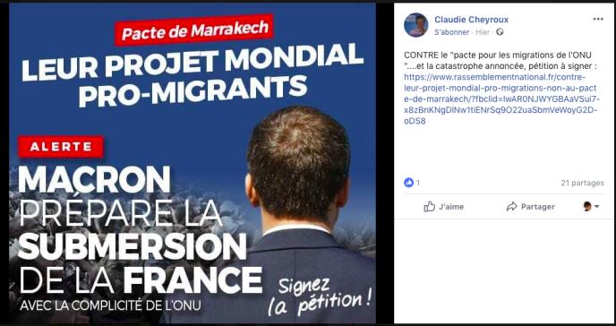 Tract du Rassemblement National diffusé sur Facebook