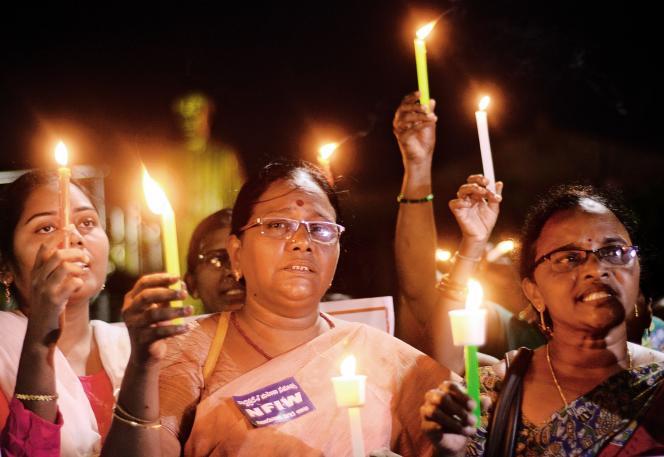 Le 10 octobre à Vijayawada, (Andhra Pradesh), des manifestantes soutiennent la décision de la Cour suprême de lever l'interdiction faiteaux femmes d'accéder au temple de Sabarimala, au Kerala.