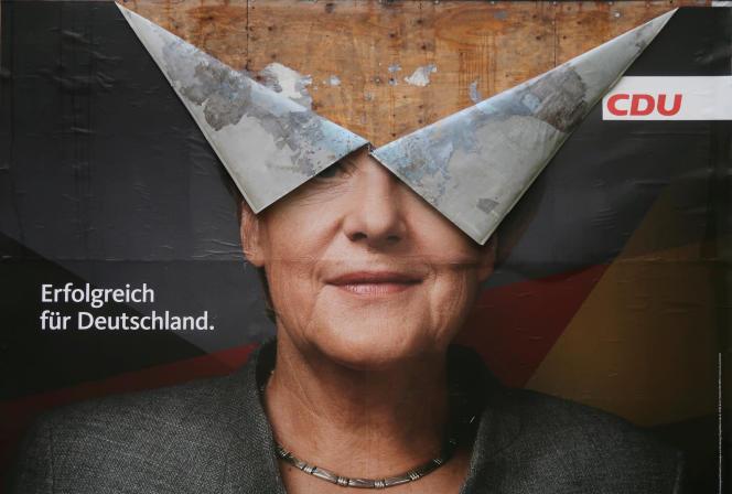 Une affiche de campagne d'Angela Merkel, en septembre 2017.