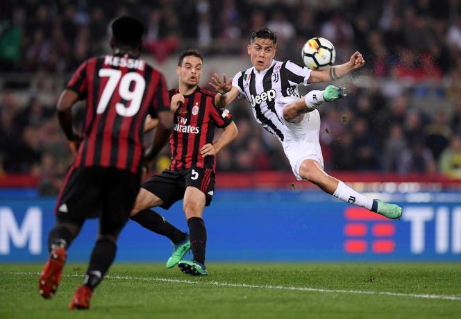 La Juve et le MilanAC lors de la finale de la Coupe d'Italie, le 9 mai 2018, à Rome.