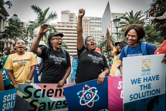 Marche pour la science à Durban, en Afrique du Sud, le 14 avril 2018.