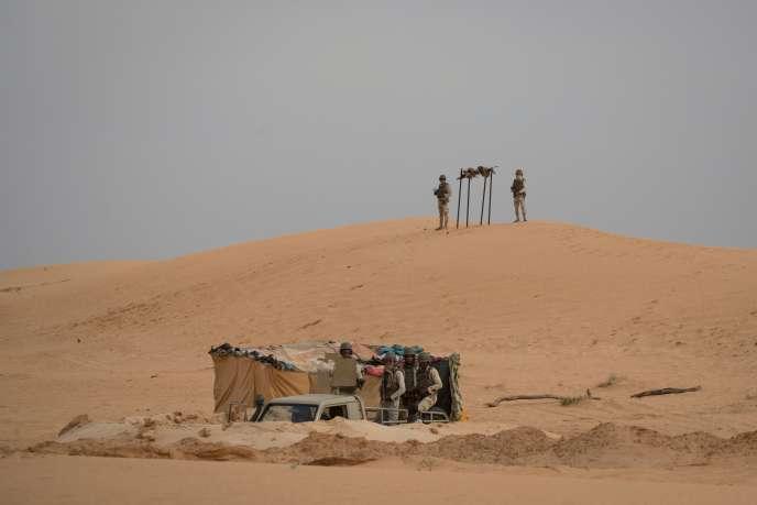 Un avant-poste de la force conjointe du G5 Sahel situé dans le sud-est de la Mauritanie, le long de la frontière avec le Mali, le 22 novembre 2018.