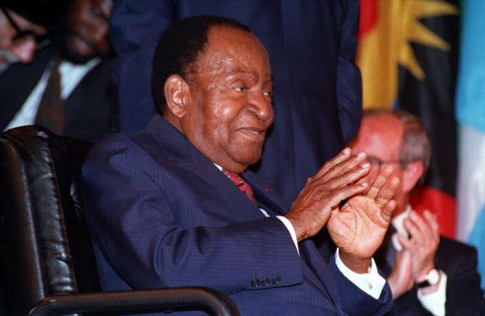 Le premier président ivoirien Félix Houphouët-Boigny, à Paris, le 18 mai 1992.