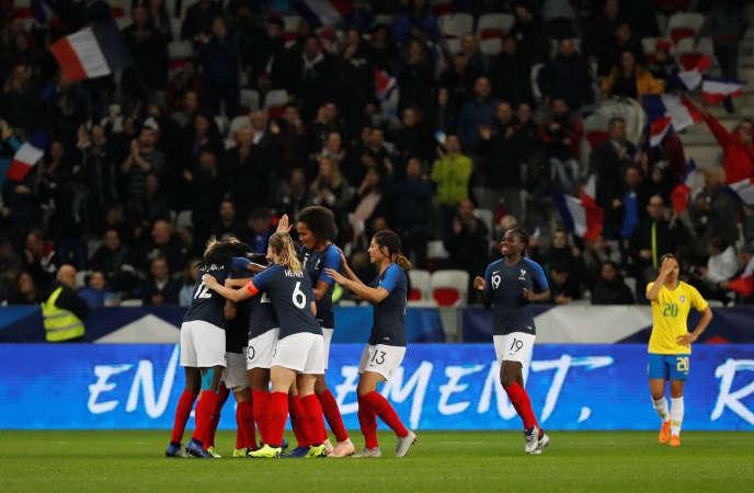 Lors de la victoire (3-1) face au Brésil, le 10 novembre, à l'Allianz Riviera de Nice.
