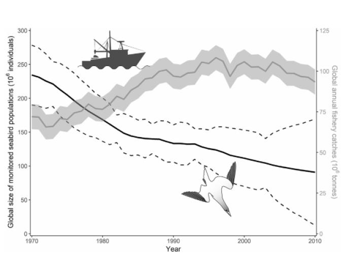 Déclin de la communauté des oiseaux de mer et progression de la pêche dans le monde entre 1970 et 2010.
