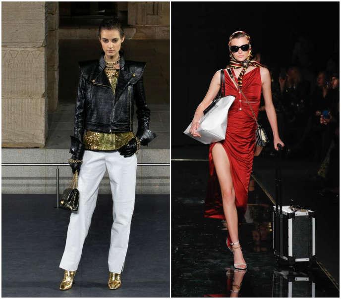 A gauche chanel, à droite, Versace.