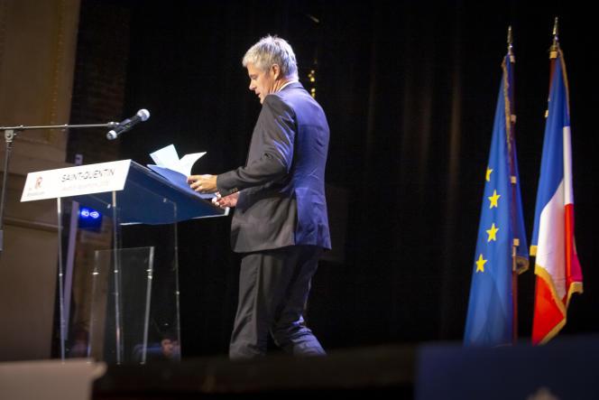 Laurent Wauquiez, président du parti Les Républicains, lors d'un meeting au théatre municipal de Saint-Quentin, le 6 décembre 2018.