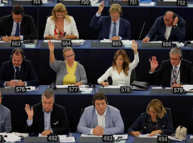 Lors du vote de la directive sur ledroit d'auteur, au Parlement européen de Strasbourg, le 12 septembre.