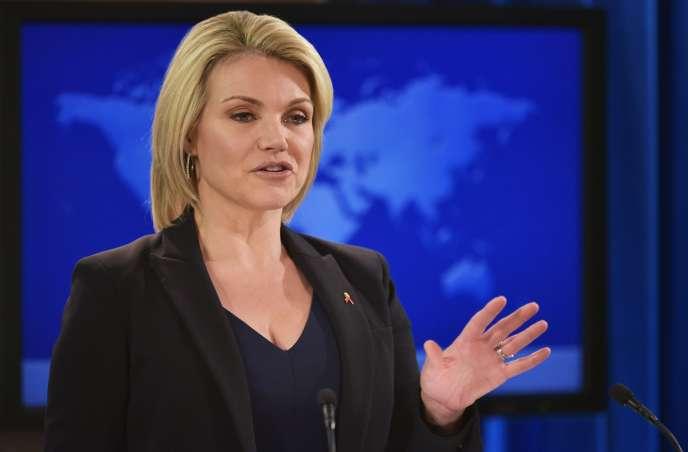 Heather Nauert, lors d'une présentation au départment d'Etat à Washington.