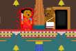Image du jeu vidéo« Darshan Diversion » dans lequel des femmes luttent contre des prêtres pour entrer dans un temple hindou.