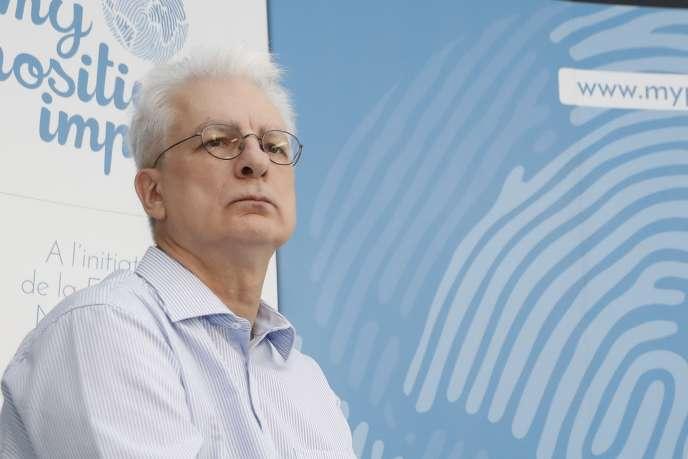 Le philosophe Dominique Bourg, lors d'une conférence de presse à Boulogne-Billancourt, le 29 juin 2017.