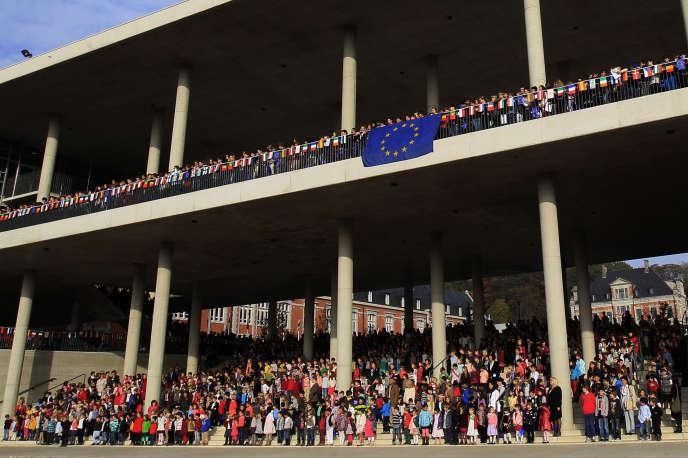 Inauguration de l'école européenne de Bruxelles IV, en octobre 2012.