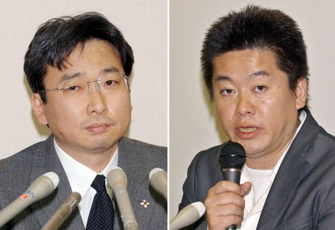 Lorsqu'il se trouvait à la tête du bureau d'enquêtes spéciales du parquet de Tokyo, Motonari Otsuru (à gauche) a notamment été à l'origine de l'arrestation de Takafumi Horie (à droite), le fondateur du portail Internet Livedoor, en janvier 2006.