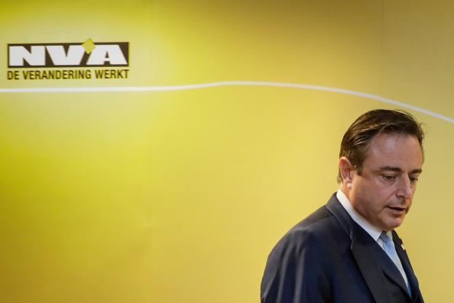Bart De Wever, le président de la N-VA, lors d'une conférence de presse, samedi 8 décembre.