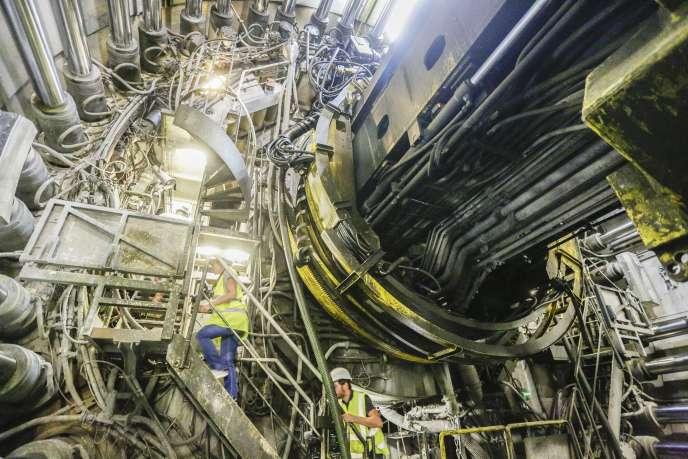 Le chantier du TGV Lyon-Turin, à Saint-Martin-de-la-Porte, en Savoie, en août.