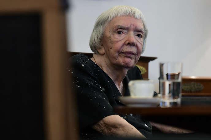 Lioudmila Alexeïeva, décédée le 8 décembre à Moscou à 91 ans, ici lors d'un congrès en Allemagne, le 30 mai 2016.