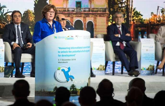 La représentante spéciale de l'ONU pour les migrations défend l'adoption d'un pacte mondial sur la migrationà Marrakech (Maroc), le 5 décembre.
