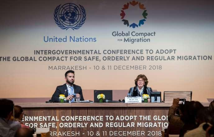 Louise Arbour, représentante spéciale du Secrétaire général de l'ONU pour les migrations,le 9 décembre, lors d'une conférence internationale à Marrakech (Maroc).