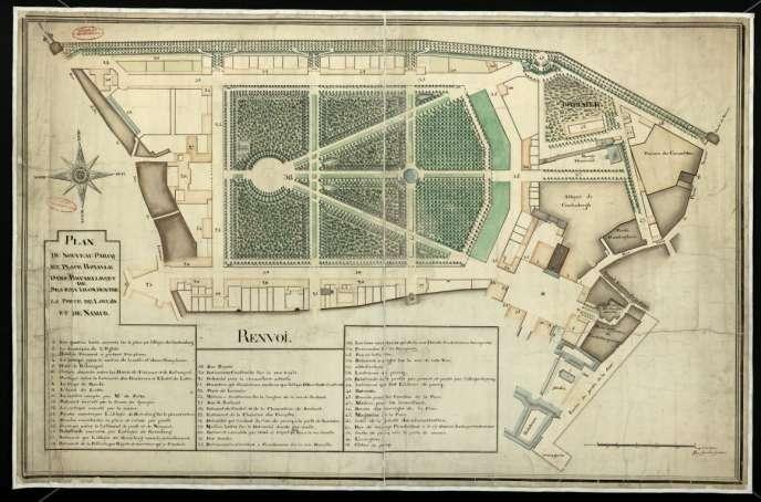 Plan du parc de Bruxelles, aménagé à partir de 1775 à l'emplacement des ruinesdu château, détruit par l'incendie de 1731.
