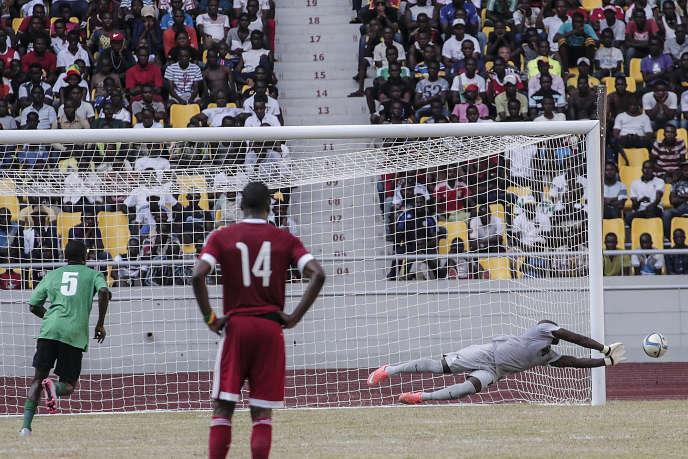 Lors d'un match entre le Congo et la Zambie, au stade Kintele de Brazzaville, en mars 2016.