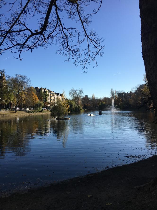 Vue du parc des Etangs d'Ixelles, dont les abords ont étélotis au début du XXe siècle de beaux hôtels particuliers.