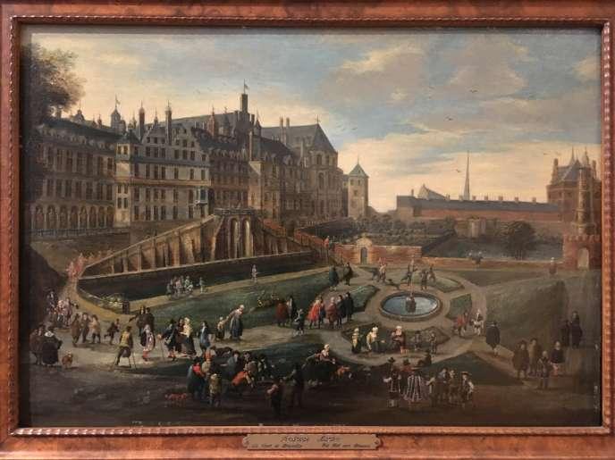 Andreas Martin,« Vue du palais de Bruxelles» (1726), Musée de la ville. Dans cet ancien parc, riches et pauvres se côtoient, des chiens s'ébattent, alors que des cerfs ne semblent pas effarouchés. Le château, lui, brûlera en 1731.