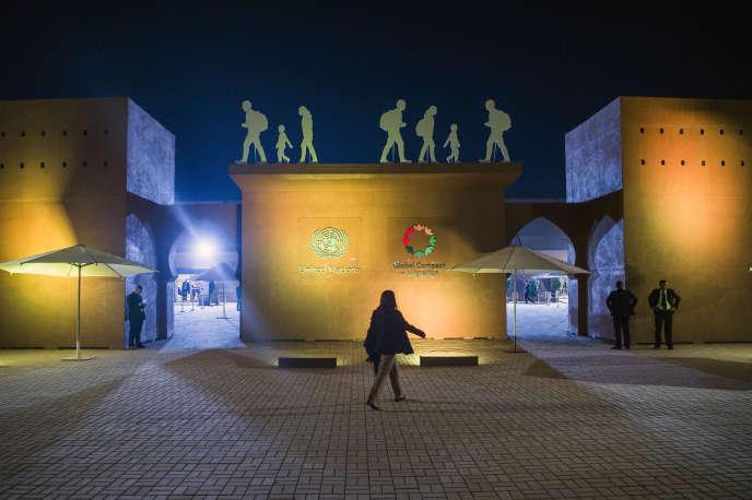 Sur le site de la conférence intergouvernementale sur les migrations, à Marrakech, auMaroc, le 9décembre 2018.