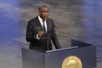 Denis Mukwege, prix Nobel de la paix 2018n, lors de son discours d'acceptation, le 10 décembre 2018, à Oslo, en Norvège.