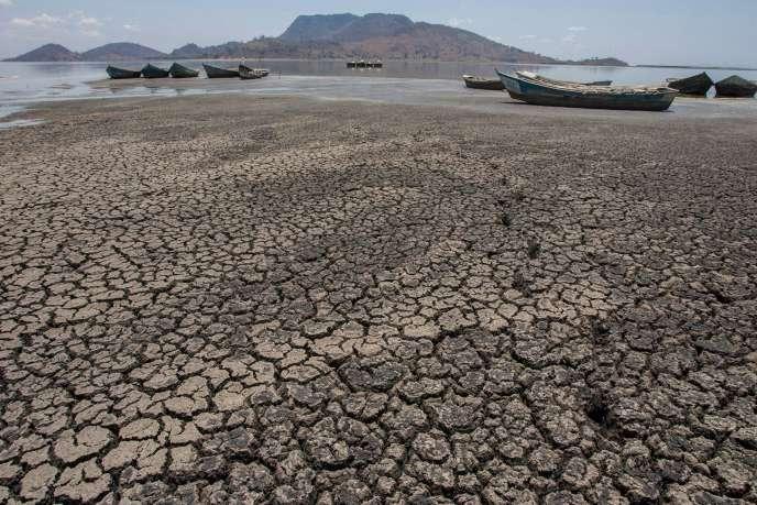 Les rives asséchées du lac Chilwa, au Malawi, en octobre 2018.