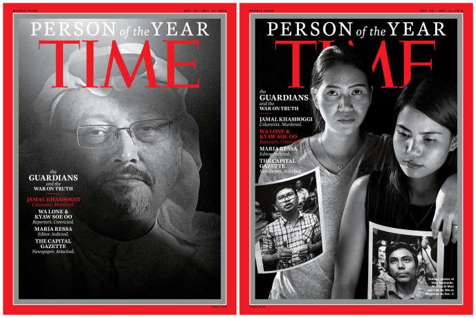 Le Saoudien Jamal Khashoggi, à gauche, et les épouses des reporters birmans de Reuters Wa Lone et Kyaw Soe Oo, à droite.