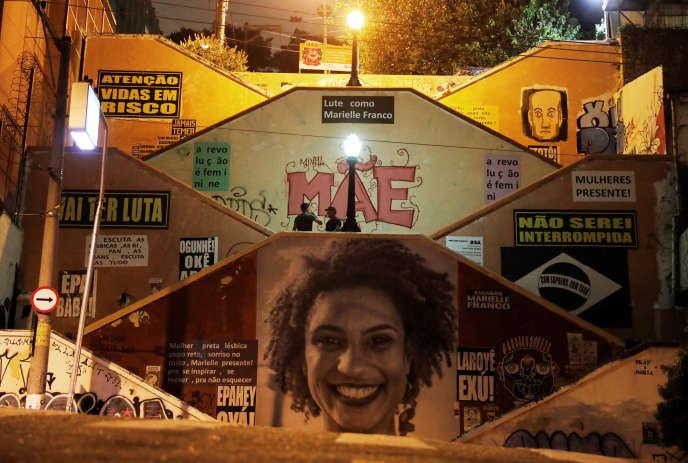 Un hommage à la militante des droits de l'homme et élue municipale de Rio, Marielle Franco, assassinée en mars. A Sao Paulo, le 10 décembre.