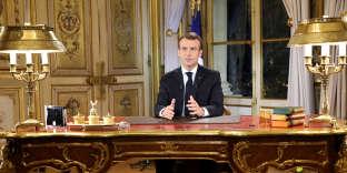 Emmanuel Macron lors de son allocution télévisée, le 10 décembre.