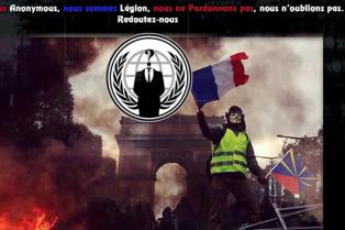 Image extraite d'un communiqué diffusé par le mouvement« Anonymous OpFrance».