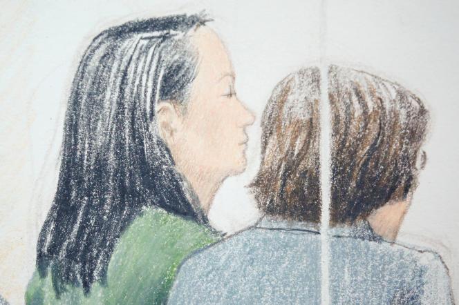 La directrice financière d'Huawei, Meng Wanzhou (à gauche), lors de son audience de libération sous caution au tribunal de Vancouver, le 10 décembre 2018.