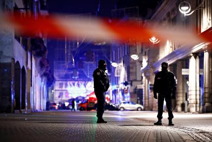 Le centre-ville de Strasbourg bouclé par les forces de police, le 12 décembre 2018.