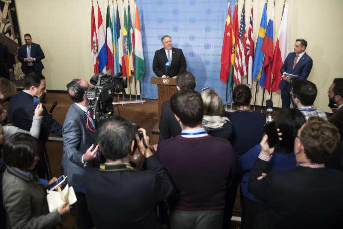 Le secrétaire d'Etat américain Mike Pompeo, lors de la conférence de presse, au siège des Nations unies, à New York, le 12 décembre.