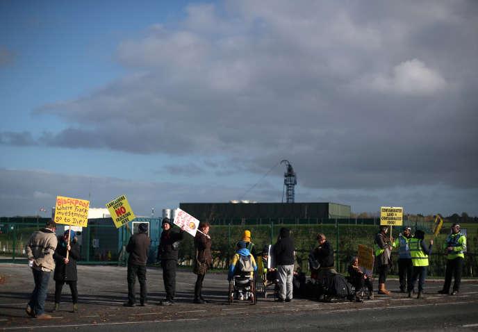 Manifestation près du site de Preston New Road, près deBlackpool (Royaume-Uni), le 22 octobre.