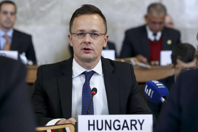 Le ministre hongrois des affaires étrangères, Péter Szijjarto, à Genève, le 28 novembre 2018.