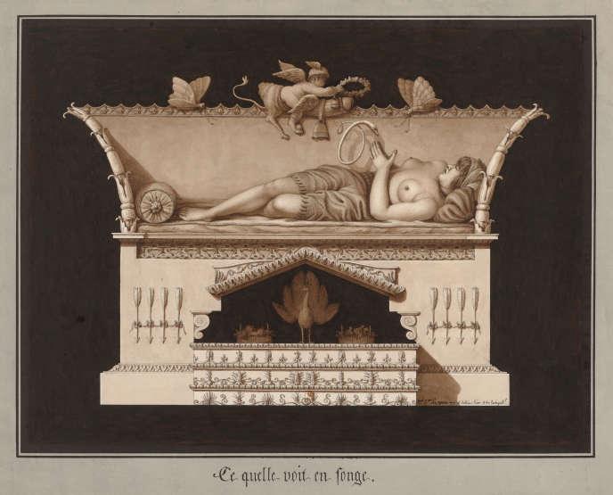 «Ce qu'elle voit en songe», de Jean-Jacques Lequeu, daté de l'An III (1794 ou 1795).