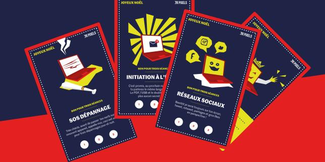 Avec ces quatre cartes cadeau, vous offrez vos compétences à vos proches, pour un prix nul.