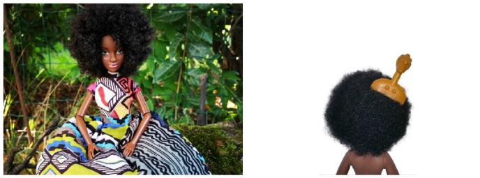 La poupée mannequin « Nubia Kemita» et son minipeigne de la marque Muna Mboa, créée par la Franco-Camerounaise Manuella Njomkam.