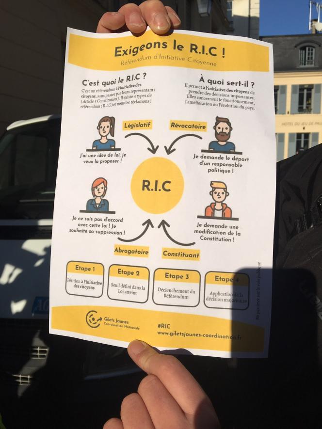 Une des revendications des «gilets jaunes» est la mise en place d'un référendum d'initiative citoyenne (R.I.C.).