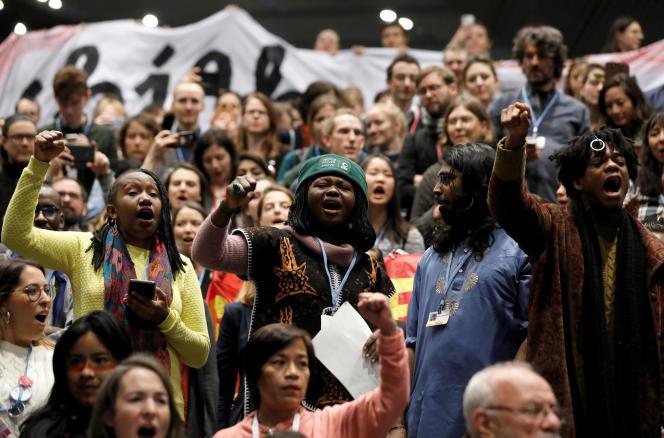 Manifestation en faveur de la justice climatique lors de la COP24, à Katowice, en Pologne, le 14 décembre 2018.